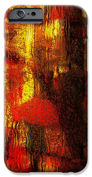 Rainy Day iPhone Cases - Walking In The Rain iPhone Case by Jack Zulli