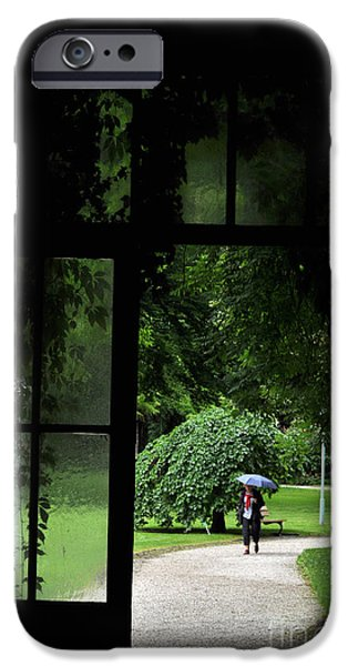 Rainy Day iPhone Cases - Walking in the rain iPhone Case by Simona Ghidini
