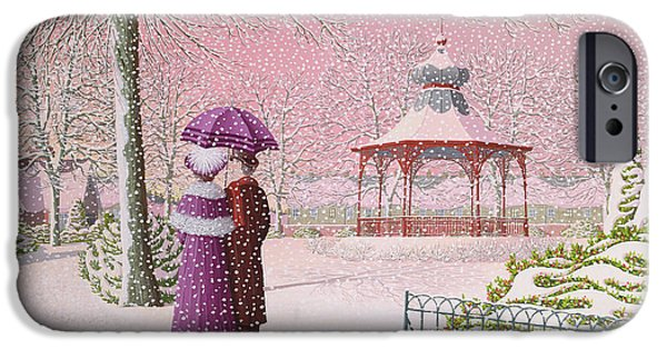 Bandstand iPhone Cases - Walking In The Snow iPhone Case by Peter Szumowski