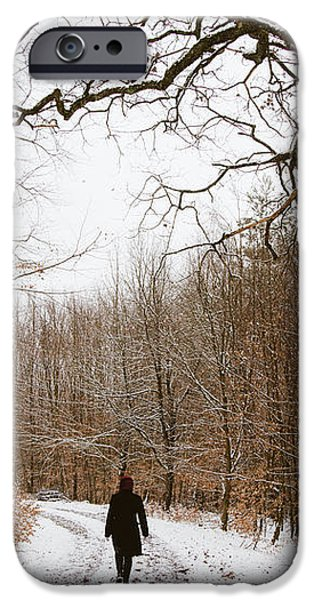 Walking in the winterly woodland iPhone Case by Matthias Hauser