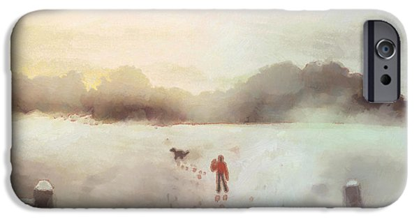 Snow Drawings iPhone Cases - Dog walking in Winter iPhone Case by Pixel Chimp