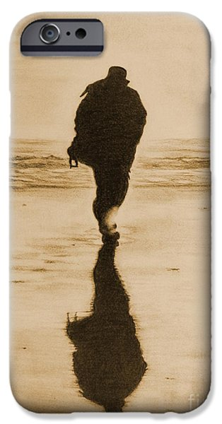 Wintry Drawings iPhone Cases - Walking into Winters Sun -sepia version iPhone Case by Amanda Lee Tzafrir