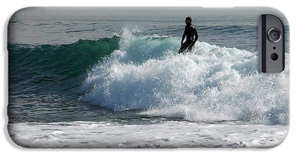 Santa Cruz Surfing iPhone Cases - Walking On Water iPhone Case by Donna Blackhall