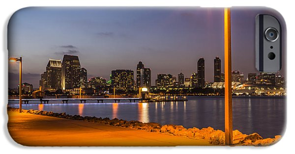Night Lamp iPhone Cases - Walking Path to Skyline iPhone Case by Joseph S Giacalone
