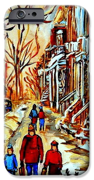 Dogs In Snow. Paintings iPhone Cases - Walking The Dog By Balconville Winter Street Scenes Art Of Montreal City Paintings Carole Spandau iPhone Case by Carole Spandau