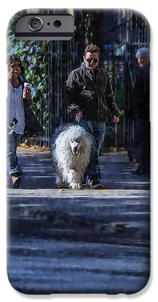 Dog Walking Digital iPhone Cases - Walking the Dog iPhone Case by Keith Yates