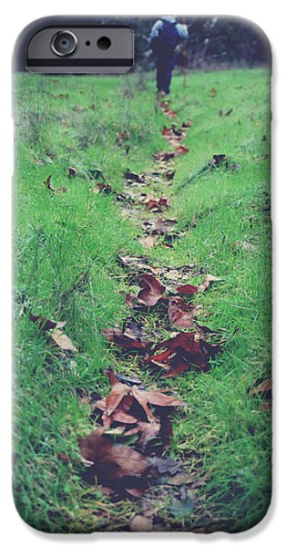 Fallen Leaf iPhone Cases - Walking the Path Less Traveled iPhone Case by Laurie Search
