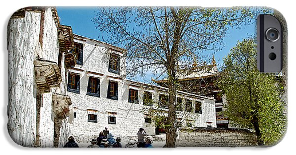 Tibetan Buddhism Digital Art iPhone Cases - Walking through Sera Monastery Grounds in Lhasa-Tibet  iPhone Case by Ruth Hager