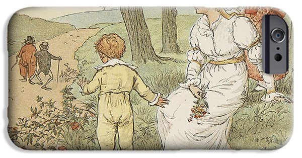 Nursery Rhyme iPhone Cases - Walking to Mouseys Hall iPhone Case by Randolph Caldecott
