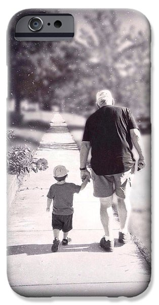 Natasha Marco iPhone Cases - Walking with Grandpa iPhone Case by Natasha Marco
