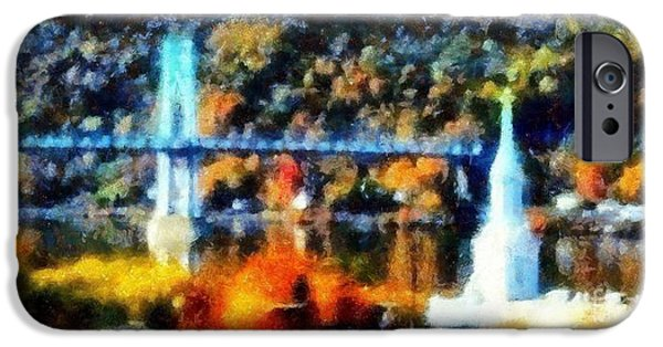 Hudson River iPhone Cases - Walkway over the Hudson Autumn riverview iPhone Case by Janine Riley