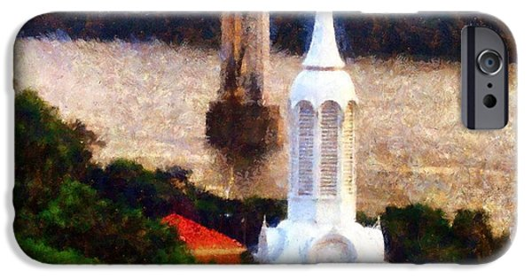 Hudson River iPhone Cases - Walkway over the Hudson Church Steeple iPhone Case by Janine Riley