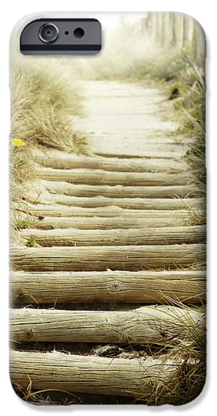 Pathway iPhone Cases - Walkway to beach iPhone Case by Les Cunliffe