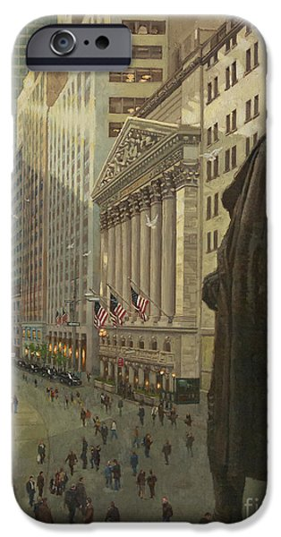 Financial District iPhone Cases - Wall Street 1 iPhone Case by Gary Kim