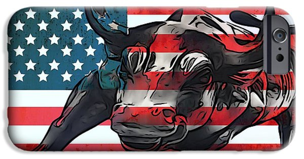 Bulls Mixed Media iPhone Cases - Wall Street Bull American Flag iPhone Case by Dan Sproul