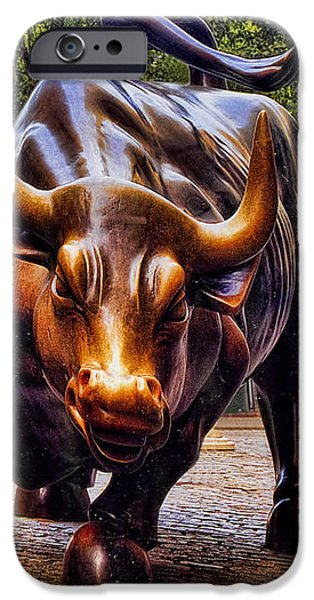 Wall Street Bull iPhone Case by David Smith