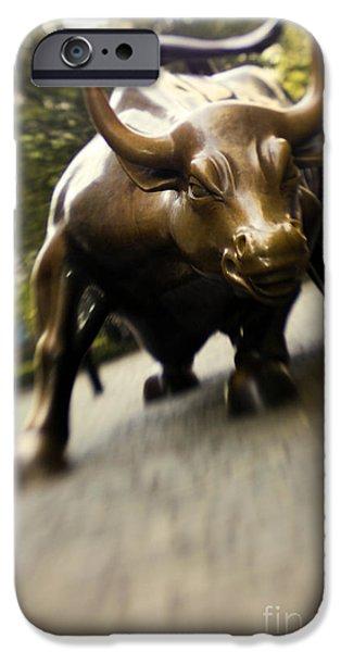 Wall Street Bull iPhone Case by Tony Cordoza