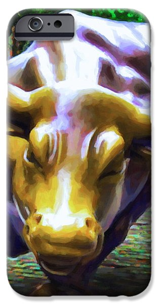 Wall Street Bull v2 - square iPhone Case by Wingsdomain Art and Photography