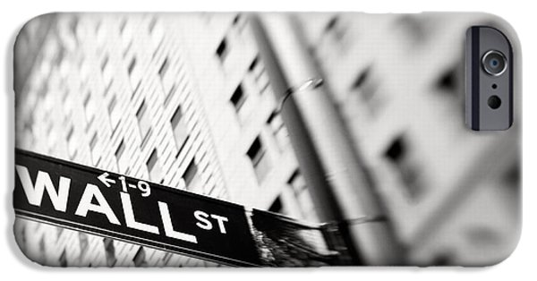Selective Focus iPhone Cases - Wall Street Street Sign iPhone Case by Tony Cordoza