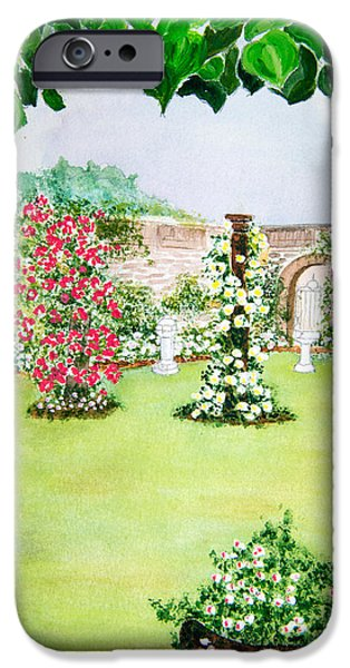 Garden Scene Paintings iPhone Cases - Walled garden iPhone Case by Roy Pedersen