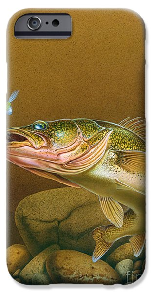 Walleye and spinner Jig iPhone Case by Jon Q Wright