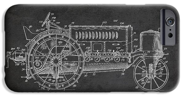 Tractors iPhone Cases - Wallis Tractor Patent drawing from 1916 - Dark iPhone Case by Aged Pixel