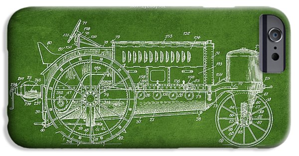 Tractors iPhone Cases - Wallis Tractor Patent drawing from 1916 - Green iPhone Case by Aged Pixel