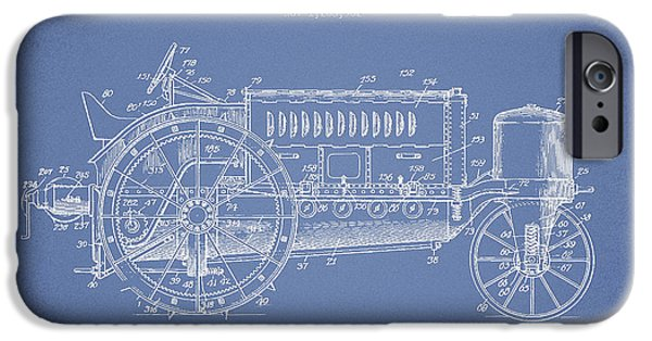 Tractors iPhone Cases - Wallis Tractor Patent drawing from 1916 - Light Blue iPhone Case by Aged Pixel