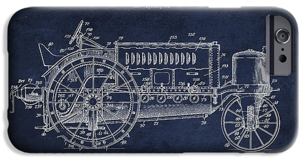 Tractors iPhone Cases - Wallis Tractor Patent drawing from 1916 - Navy Blue iPhone Case by Aged Pixel