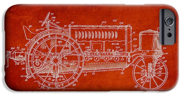 Agriculture Digital iPhone Cases - Wallis Tractor Patent drawing from 1916 - Red iPhone Case by Aged Pixel
