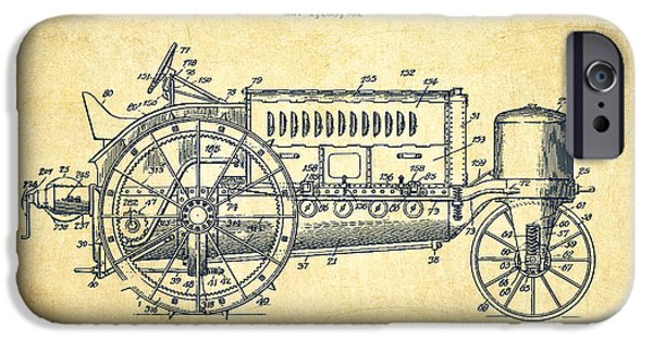 Tractors iPhone Cases - Wallis Tractor Patent drawing from 1916 - Vintage iPhone Case by Aged Pixel