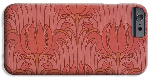 Design Tapestries - Textiles iPhone Cases - Wallpaper Design iPhone Case by Victorian Voysey