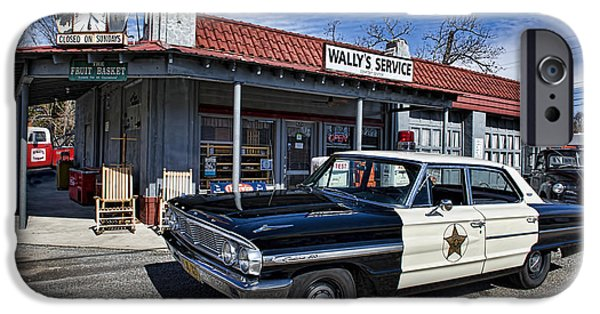 Mt Airy North Carolina iPhone Cases - Wallys Service Station iPhone Case by David Arment