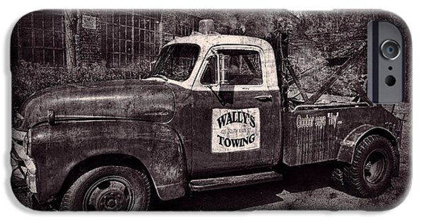 Andy Griffith Show iPhone Cases - Wallys Towing BW iPhone Case by David Arment