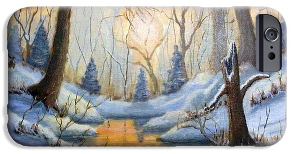 Snowscape Paintings iPhone Cases - Walnut Creek iPhone Case by CD Copley