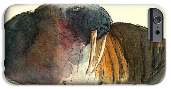 North Sea Paintings iPhone Cases - Walrus iPhone Case by Juan  Bosco