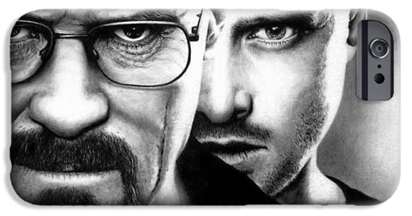 Aaron Drawings iPhone Cases - Walt and Jesse - Breaking Bad iPhone Case by Rick Fortson