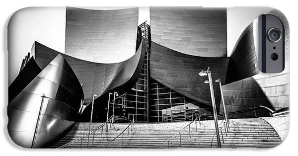 Downtown Stairs iPhone Cases - Walt Disney Concert Hall in Black and White iPhone Case by Paul Velgos