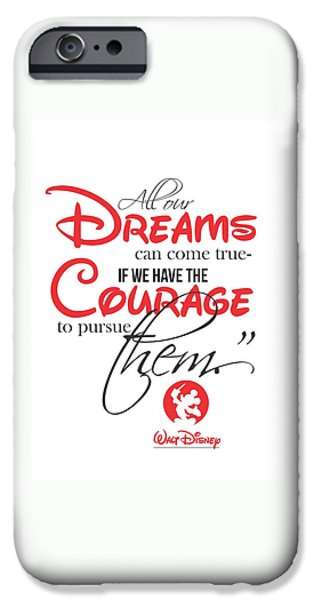 Framed Prints iPhone Cases - Walt Disney quote typography iPhone Case by Lab No 4 - The Quotography Department