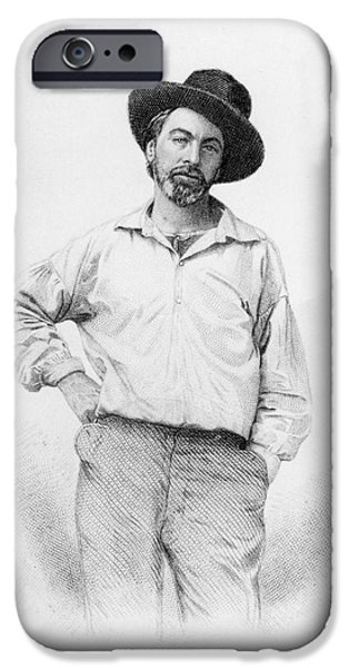 Male Drawings iPhone Cases - Walt Whitman frontispiece to Leaves of Grass iPhone Case by American School