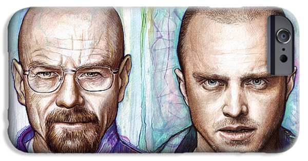 White Mixed Media iPhone Cases - Walter and Jesse - Breaking Bad iPhone Case by Olga Shvartsur