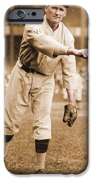 American League iPhone Cases - Walter Johnson Poster iPhone Case by Gianfranco Weiss