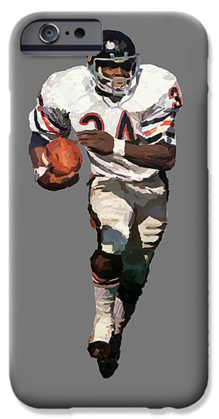 Soldier Field Digital Art iPhone Cases - Walter Payton iPhone Case by Charley Pallos