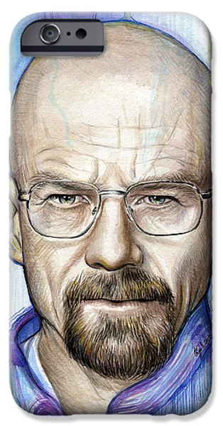 Celebrities Art iPhone Cases - Walter White - Breaking Bad iPhone Case by Olga Shvartsur