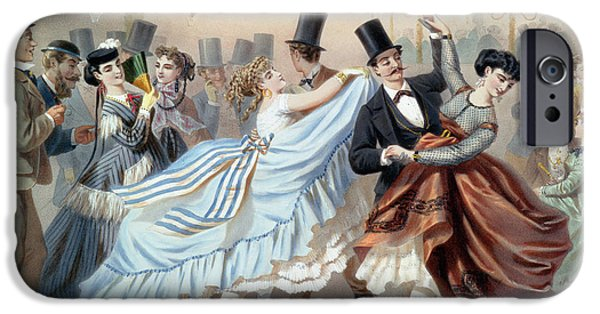 Couple Drawings iPhone Cases - Waltz at the Bal Mabille Avenue Montaigne Paris iPhone Case by Charles Vernier