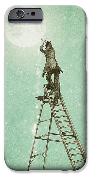 Victorian Drawings iPhone Cases - Waning Moon iPhone Case by Eric Fan