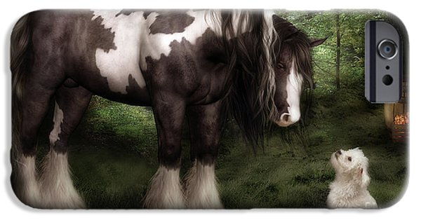 Horse Digital Art iPhone Cases - Want to Play iPhone Case by Shanina Conway