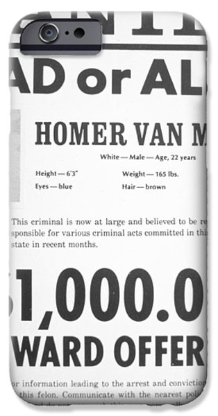 Police iPhone Cases - Wanted poster for Homer van Meter iPhone Case by American School