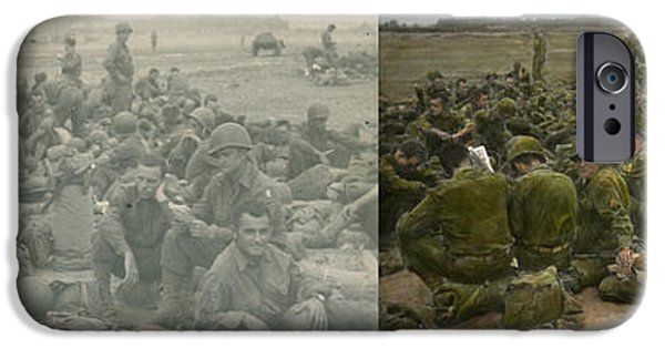 Grunts iPhone Cases - War - A thousand stories - Side by side iPhone Case by Mike Savad
