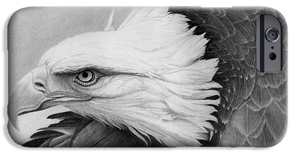Patriotic Art Drawings iPhone Cases - War Bird iPhone Case by Alan Palmer